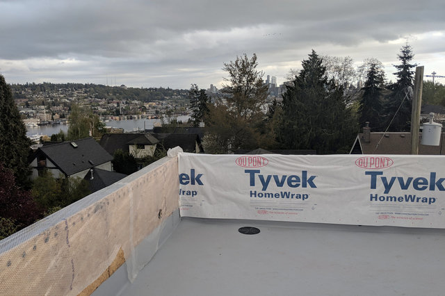 View of Lake Union before parapet siding is installed