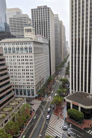 Looking down Market Street in the rain from the sixteenth floor of the Hyatt Regency