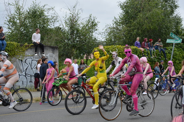 Body-painted people in the Solstice Cyclists