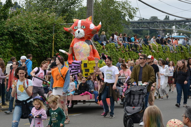 Julian in the Our Beginning float in the Fremont Solstice Parade