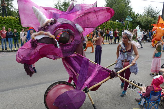 Purple dragon at the Fremont Solstice Parade