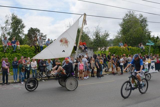 Flying Spaghetti Monster sail bike in the Fremont Solstice Parade