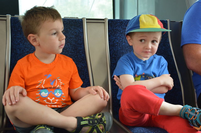 Caleb and Julian riding the bus in Vancouver
