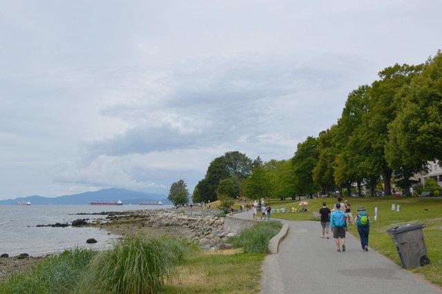 Walking along English Bay in Vancouver