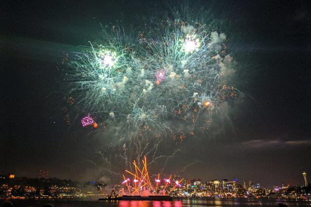 Fireworks on Lake Union