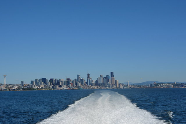 Seattle behind the Victoria Clipper V
