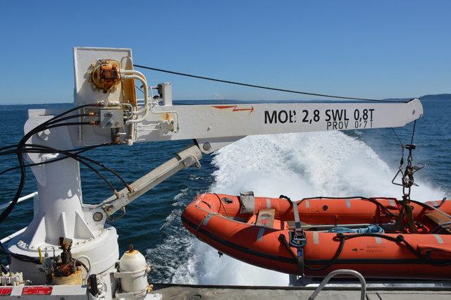 Rescue boat and crane on the stern of the Victoria Clipper V