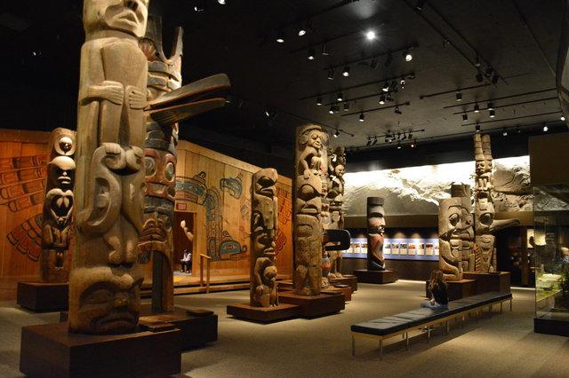Totem poles at the Royal British Columbia Museum