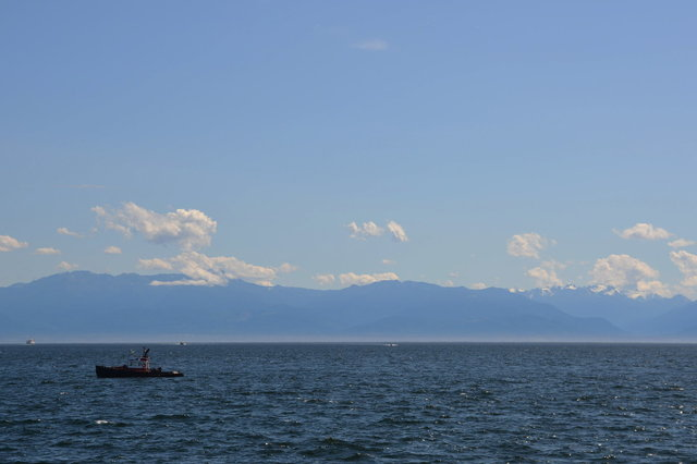 Looking across the Straight of Juan de Fuca at the Olympic Mountains