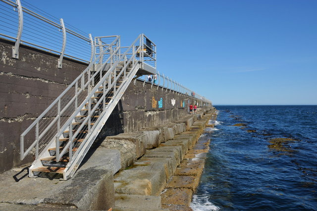 Stairs leading outside the breakwater in Victoria Harbour