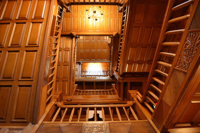 Looking up the main staircase at Craigdarroch Castle