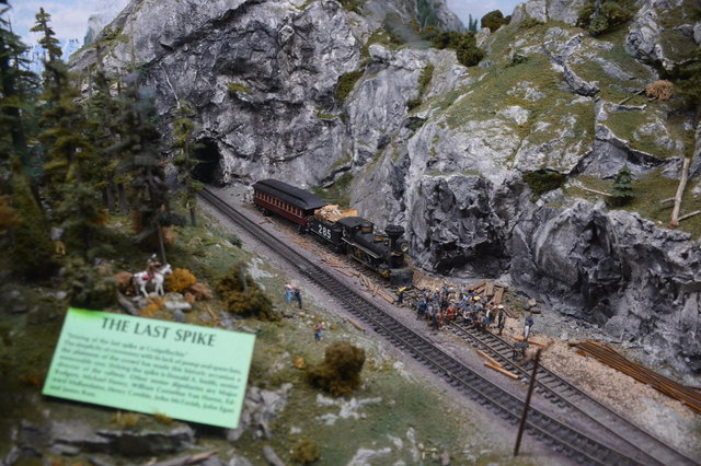 Diorama of the last spike at Miniature World