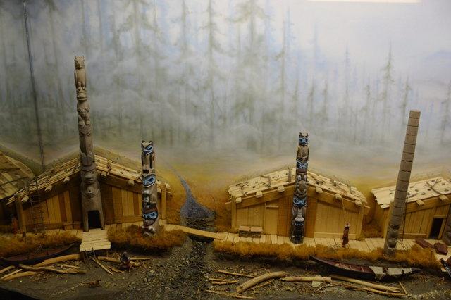 Haida village diorama at Minature World