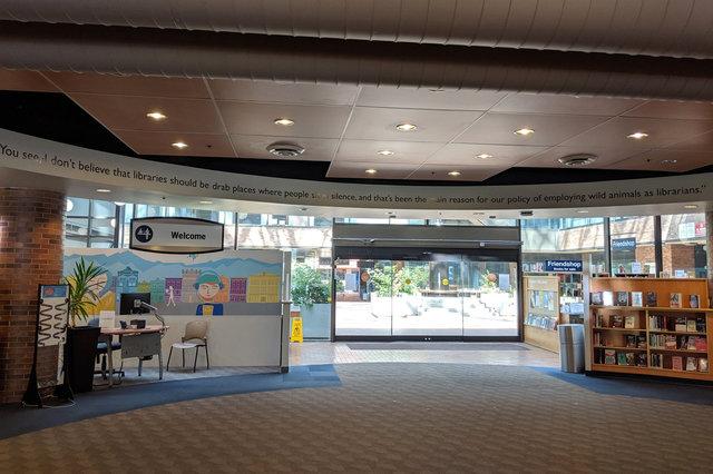 Entry atrium at the Victoria Public Library