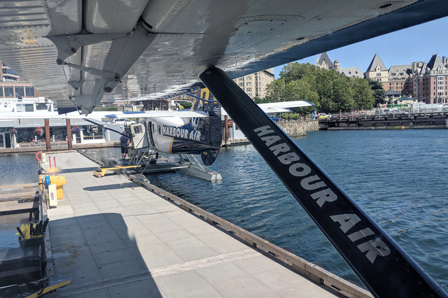 Looking out the window of a Harbour Air seaplane in Victoria Harbour