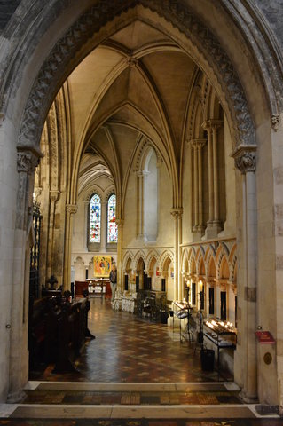 Looking down the ambulatory at Christ Church Cathedral