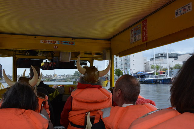 Inside a Viking Splash Tour boat on the Grand Canal Dock