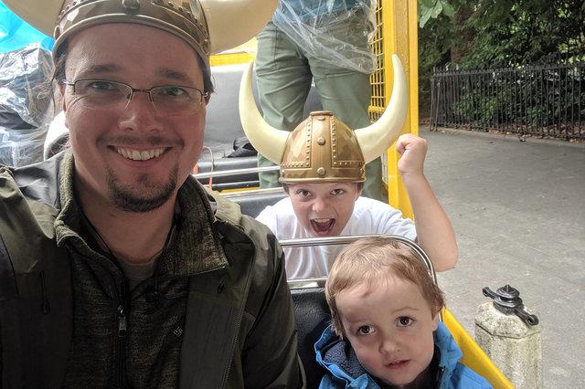 Jaeger, Calvin, and Julian on a Viking Splash Tour