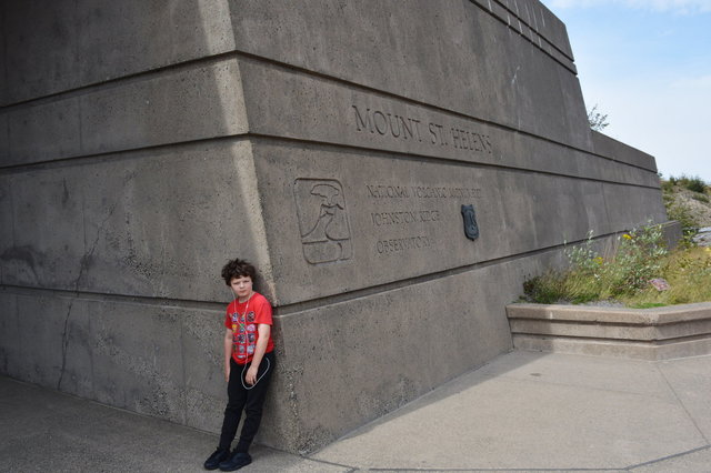 Calvin outside the Johnston Ridge Observatory