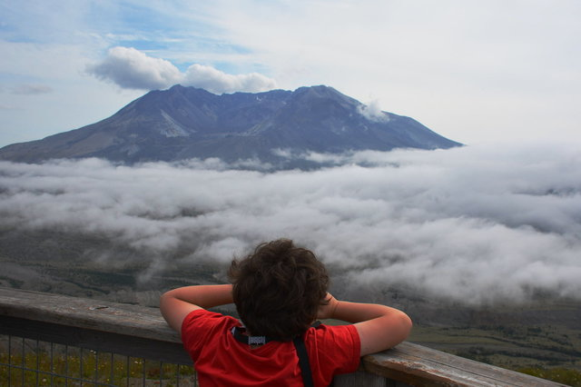 Calvin looks at Mount St. Helens