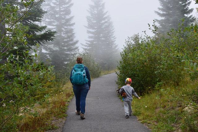 Kiesa and Julian hike on Johnston Ridge
