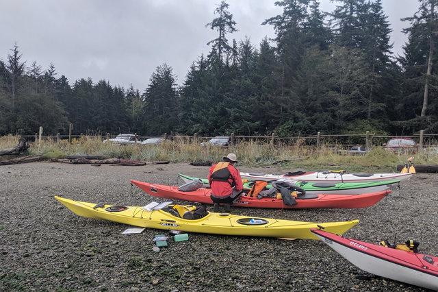 Preparing to launch kayaks at Cornet Bay Marina