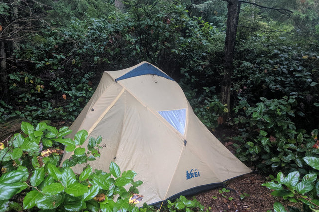 Tent at campground on Skagit Island