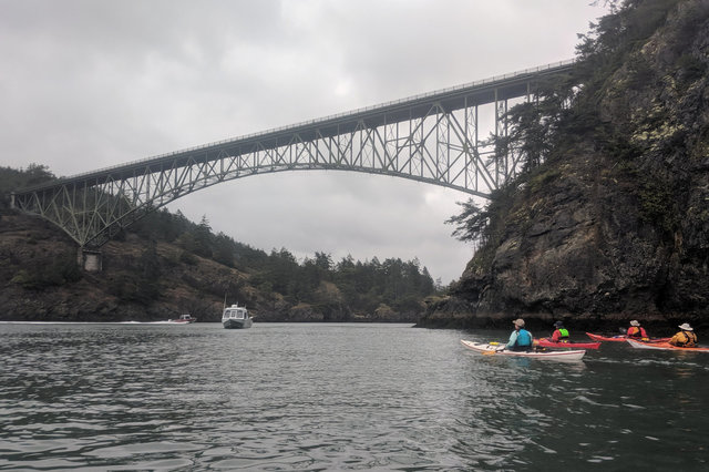 Kayakers approach Deception Pass at slack current