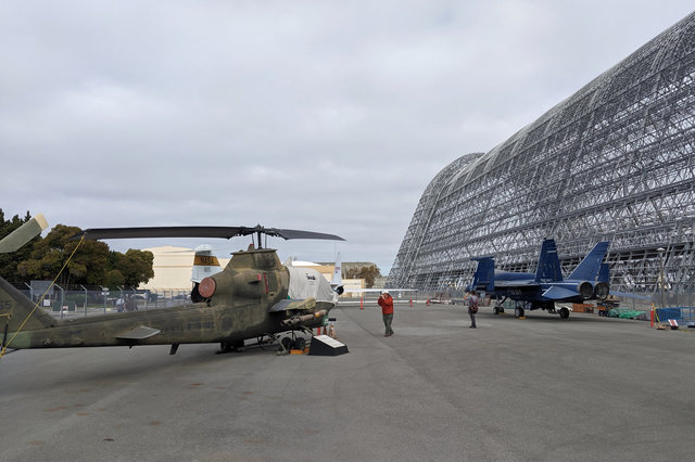 Aircraft in the plane pen at Moffett Field