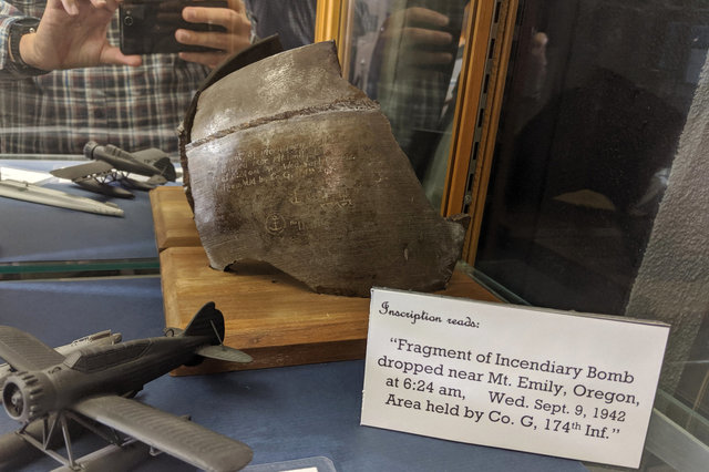 Fragment of incendiary bomb dropped on Oregon