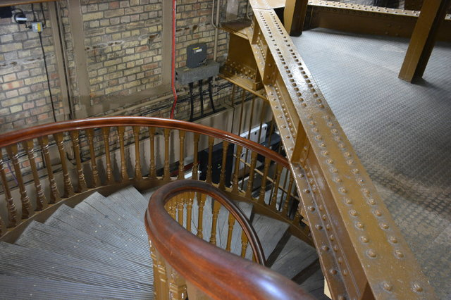 Spiral staircase inside the north tower of the Tower Bridge