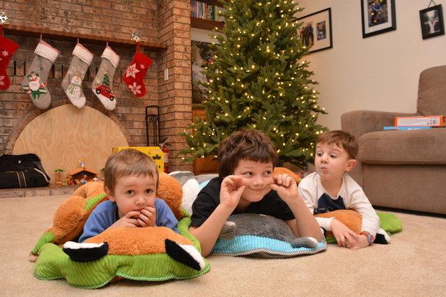 Julian, Calvin, and Caleb in their slumber bags