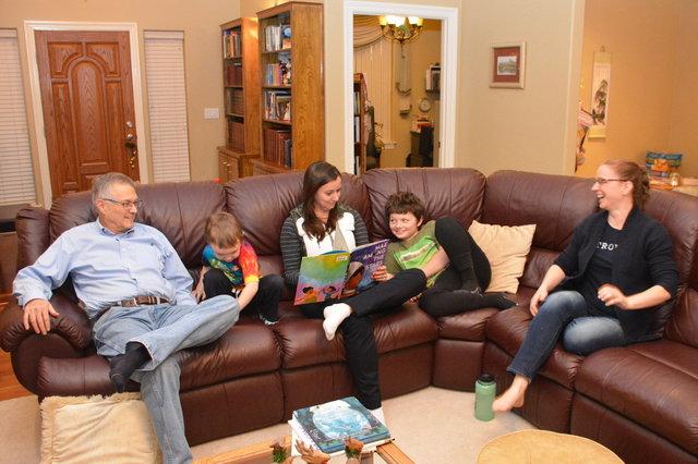 Grandpa, Julian, Aunt Bethany, Calvin, and Kiesa at Christmas
