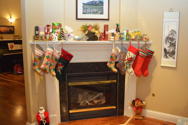 Stockings hung on the mantle