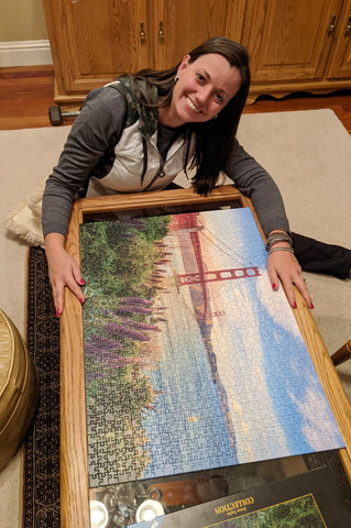 Bethany with the assembled puzzle