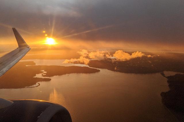 Sun sets over Puget Sound