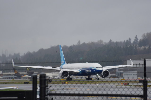 777X first flight N779XW on the runway at Boeing Field