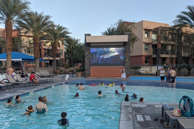 Watching Frozen II in the Snake Bite Pool
