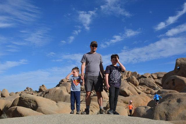 Julian, Jaeger, and Calvin in Joshua Tree National Park