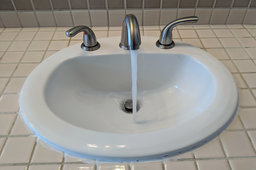 New brushed nickel bathroom faucet