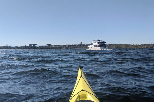 Paddling into Union Bay