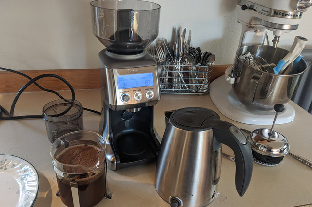 Breville coffee grinder and French press
