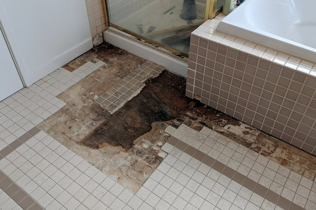 Tile and underlayment removed, exposing water-damaged subfloor