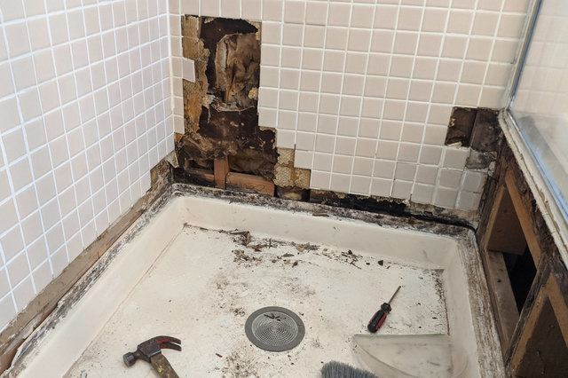 More tile removed, exposing rotten drywall