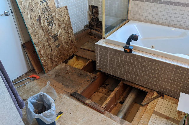 Subfloor being removed