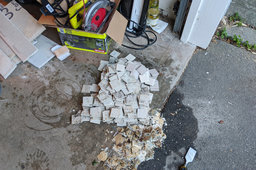Old tile being salvaged
