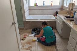 Kiesa removes tile from the master bath