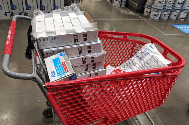 Shopping cart full of subway tile