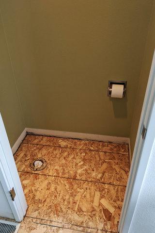 New underlayment under toilet