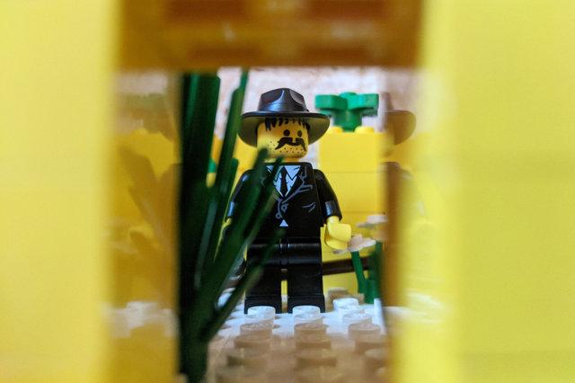 Plucky sidekick in Lego ruin